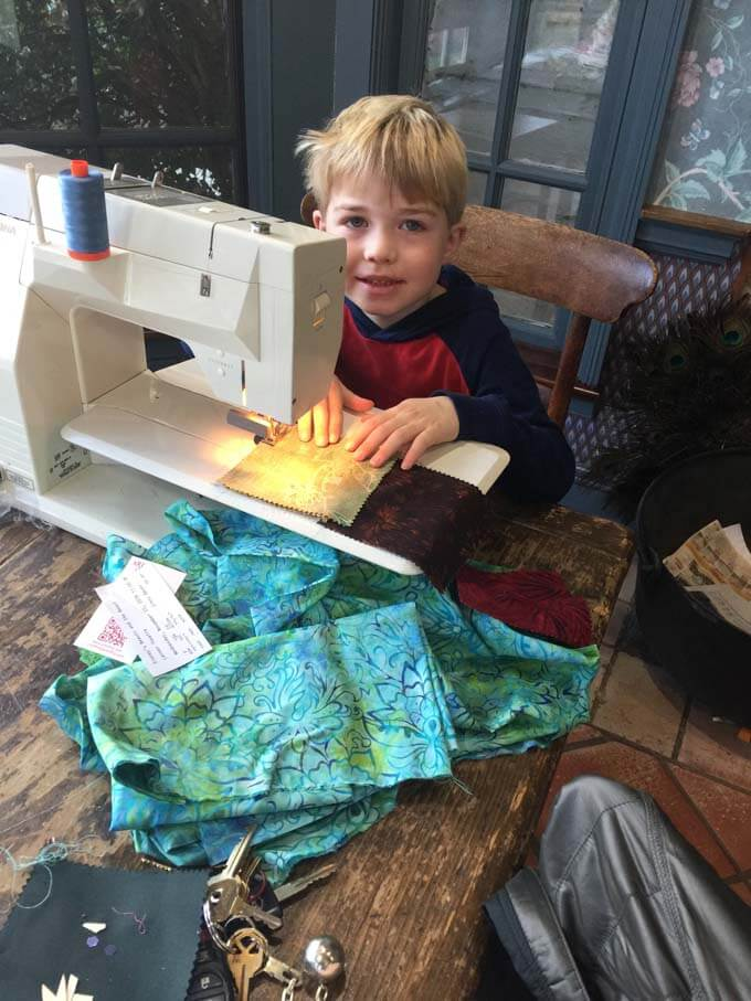 Emmett Sewing on Machine 2017