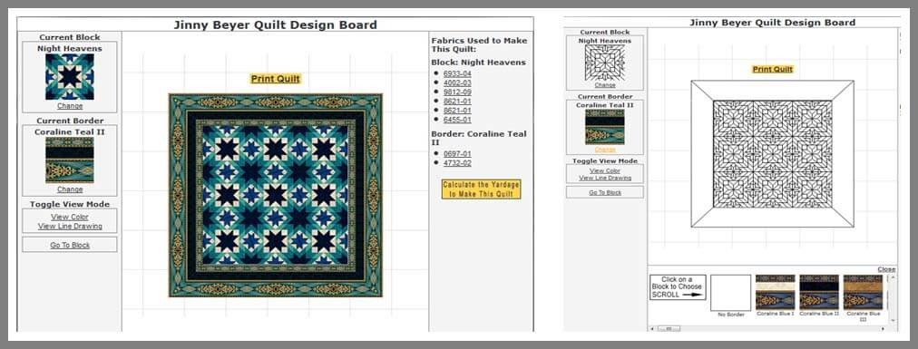 You can view the design in color or by the line drawing.  You can also change the border selection.