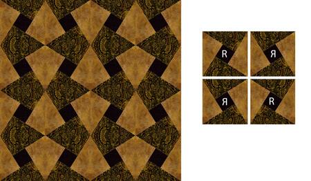 In any four block unit, opposite blocks are reversed.